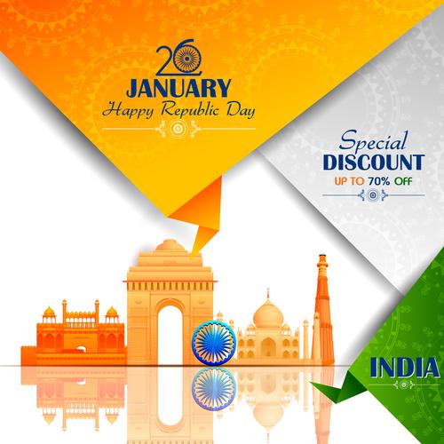 India republicday festvial design vector 02