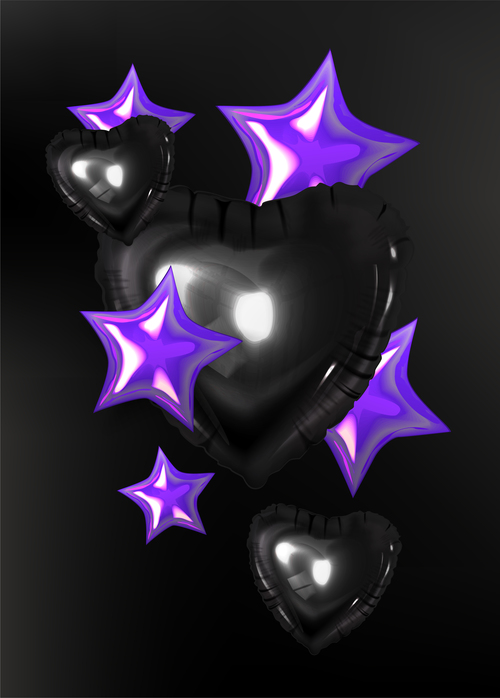 Inflatable hearts and stars vector illustration