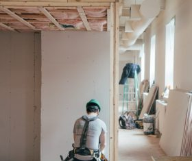 Interior decoration worker Stock Photo