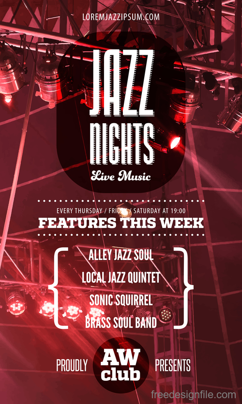 Jazz night poster template vectors 01