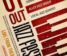 Jazz night poster template vectors 02