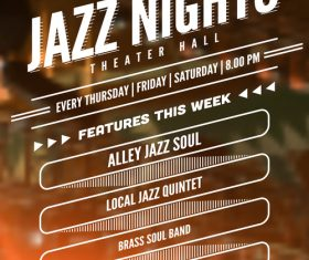 Jazz night poster template vectors 03