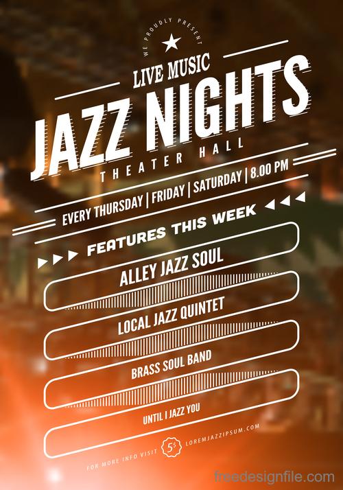 Jazz night poster template vectors 03
