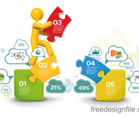 Jigsaw bridge infographic vector