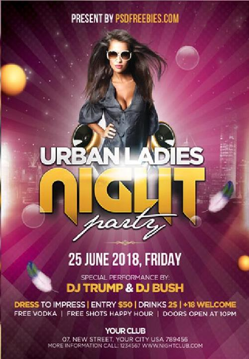 Ladies Night Party Poster and Flyer PSD Template