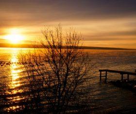 Lake at summer sunset Stock Photo