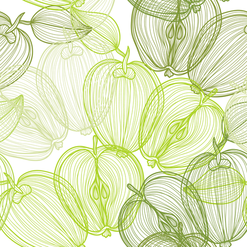 Lines fruit seamless pattern vectors 01