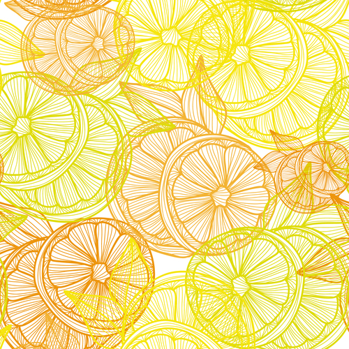 Lines fruit seamless pattern vectors 02