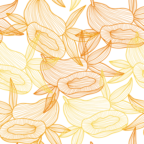 Lines fruit seamless pattern vectors 03