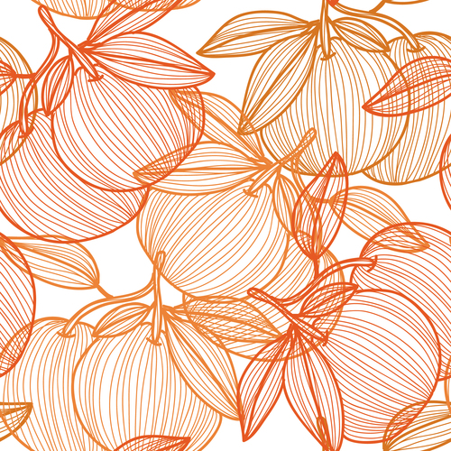 Lines fruit seamless pattern vectors 04
