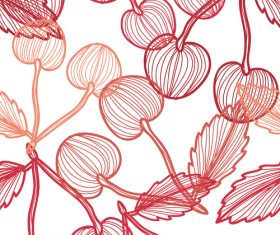 Lines fruit seamless pattern vectors 05