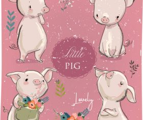 Little pig vintage design vector