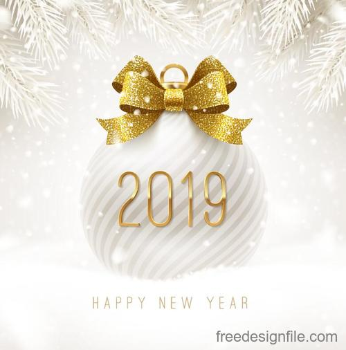 Luxury christmas ball with 2019 new year vectors
