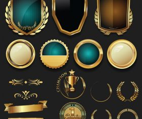 Luxury gold and silver labels retro vintage vector collection 02