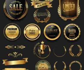 Luxury gold and silver labels retro vintage vector collection 03