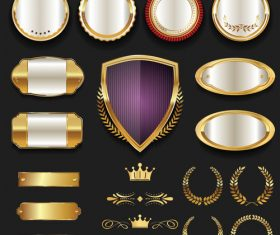 Luxury gold and silver labels retro vintage vector collection 04