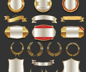 Luxury gold and silver labels retro vintage vector collection 05