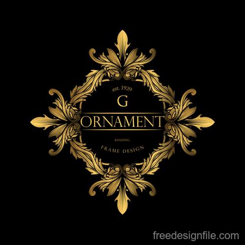 Luxury golden ornament frame vectors 02