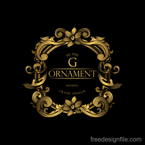 Luxury golden ornament frame vectors 04
