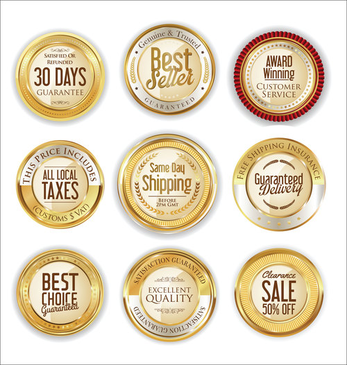 Luxury retro badge and labels vectors 01