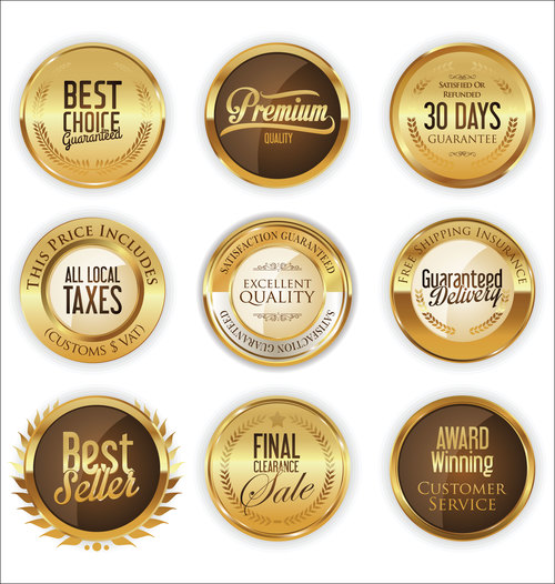 Luxury retro badge and labels vectors 03