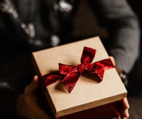 Man receiving a Christmas present Stock Photo 05
