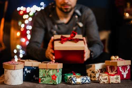 Man receiving a Christmas present Stock Photo 06
