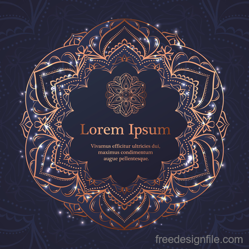 Mandala ornaments with vintage background vector 07