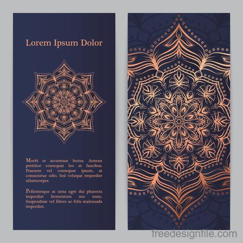 Mandala pattern banners vector material 02