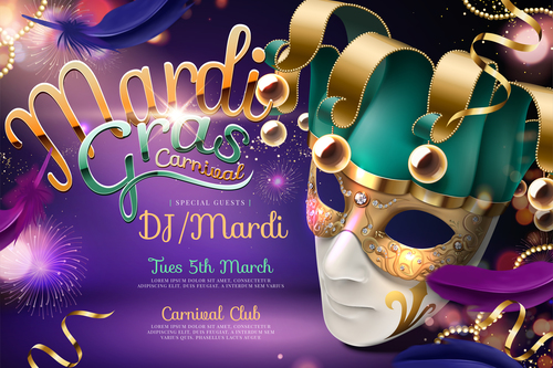 Mardi gras party poster template vector 01