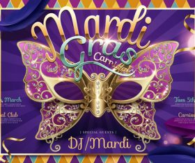 Mardi gras party poster template vector 02