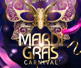 Mardi gras party poster template vector 03