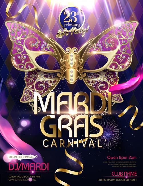 Mardi gras party poster template vector 03