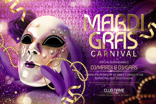 Mardi gras party poster template vector 04