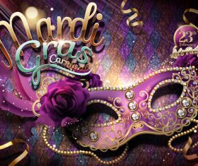 Mardi gras party poster template vector 05