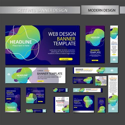 Mega banner design vectors 01