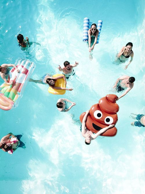Men and women in the swimming pool Stock Photo