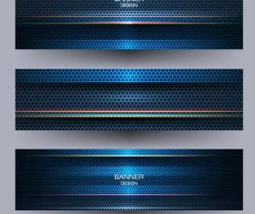 Metal banners template colored vector 01