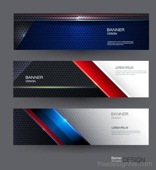 Metal banners template colored vector 02