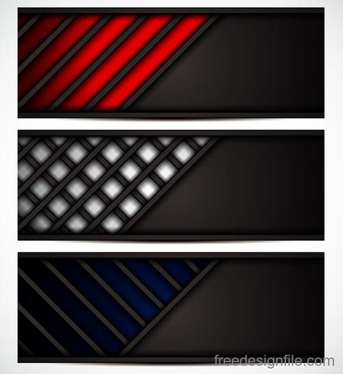Metal banners template colored vector 03