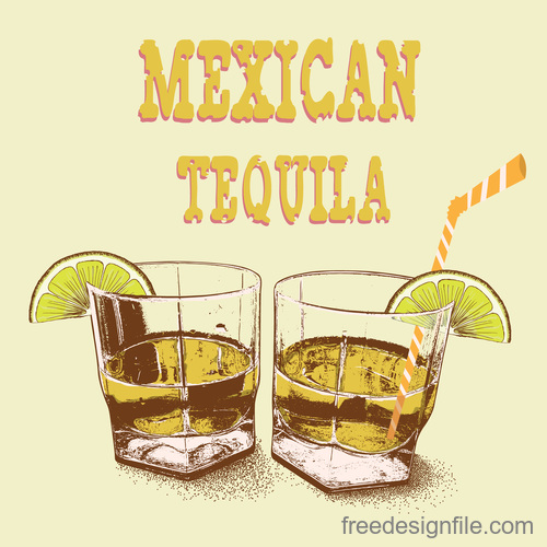 Mexican tequila vintage design vector 03