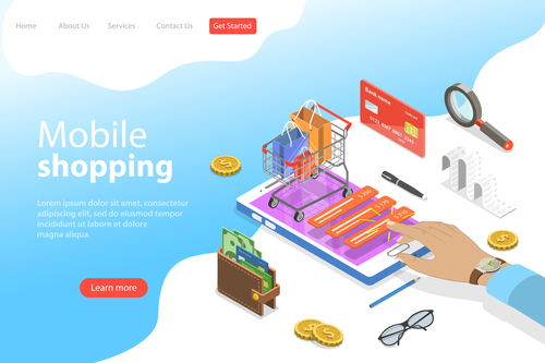 Mobile shopping business template vector