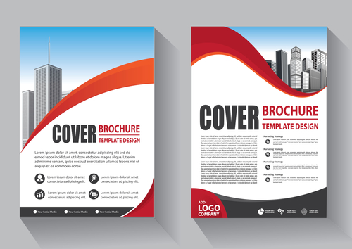 Modern cover brochure template design vector 05