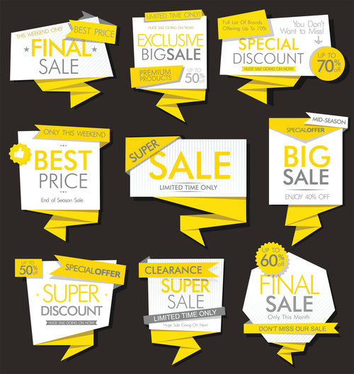 Modern sale banners and labels modern vector collection