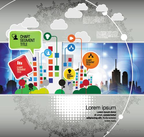 Modern urban infographic chart vectors 06