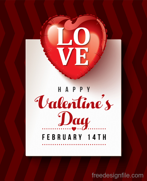 Modern valentines day card template vectors 02