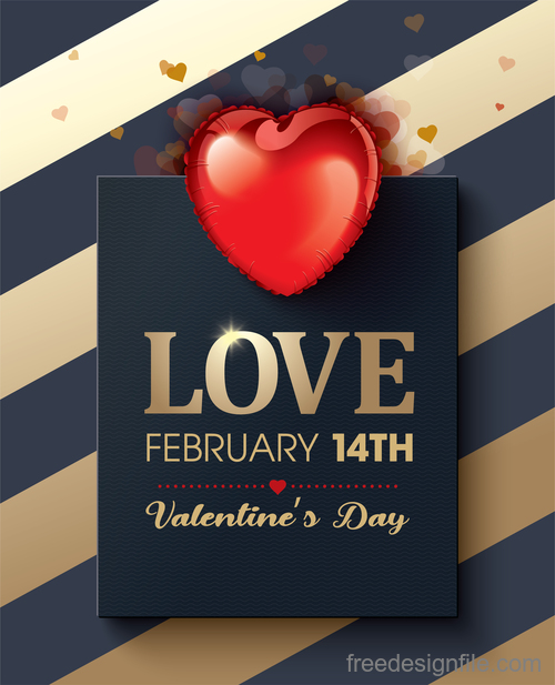 Modern valentines day card template vectors 03