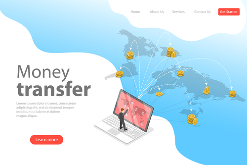 Money transfer business template vector