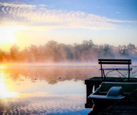 Morning sun shines on the lake Stock Photo
