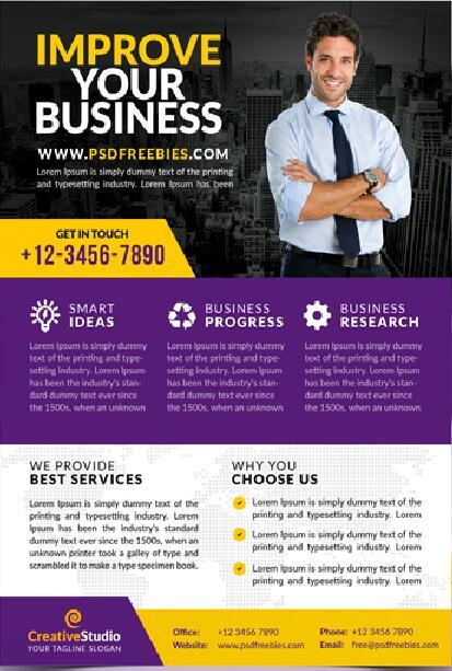 Multipurpose Corporate Business Flyer with Brochure PSD Template
